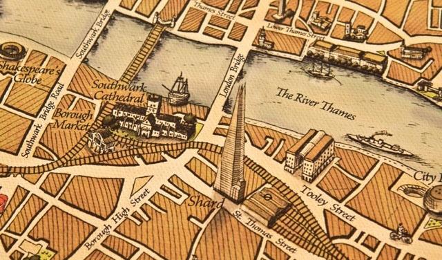 19世纪复古风格手绘伦敦地图
